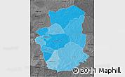 Political Shades 3D Map of Gourma, darken, desaturated