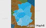 Political Shades 3D Map of Gourma, darken