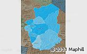 Political Shades 3D Map of Gourma, darken, semi-desaturated