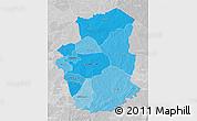Political Shades 3D Map of Gourma, lighten, desaturated