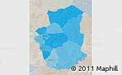 Political Shades 3D Map of Gourma, lighten, semi-desaturated