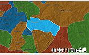 Political 3D Map of Comin-Yanga, darken