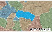 Political 3D Map of Comin-Yanga, semi-desaturated