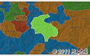 Political 3D Map of Diabo, darken