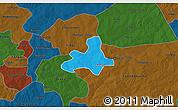 Political 3D Map of Diapangou, darken