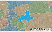 Political 3D Map of Diapangou, semi-desaturated