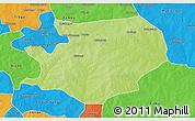 Physical 3D Map of Fada N'gourma, political outside
