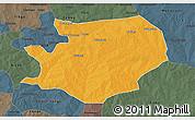 Political 3D Map of Fada N'gourma, darken, semi-desaturated