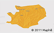 Political 3D Map of Fada N'gourma, single color outside
