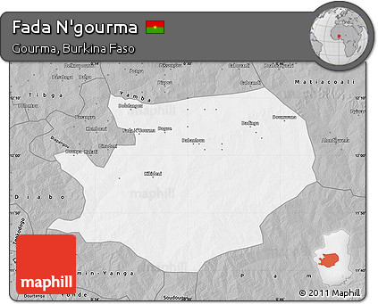 Free Gray Map of Fada Ngourma