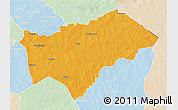 Political 3D Map of Gayeri, lighten