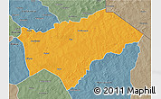 Political 3D Map of Gayeri, semi-desaturated
