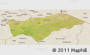 Satellite Panoramic Map of Gayeri, shaded relief outside