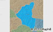 Political 3D Map of Matiacoali, semi-desaturated