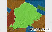 Political 3D Map of Pama, darken