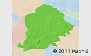 Political 3D Map of Pama, lighten