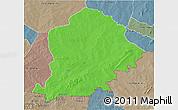 Political 3D Map of Pama, semi-desaturated