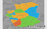 Political Panoramic Map of Gourma, desaturated