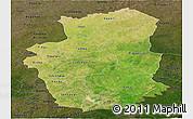 Satellite Panoramic Map of Gourma, darken