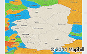 Shaded Relief Panoramic Map of Gourma, political outside