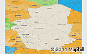 Shaded Relief Panoramic Map of Gourma, political shades outside