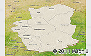 Shaded Relief Panoramic Map of Gourma, satellite outside