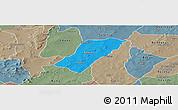 Political Panoramic Map of Badema, semi-desaturated