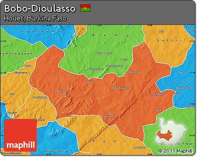 Free Political Map of BoboDioulasso