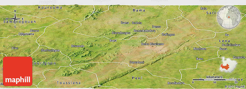 Satellite Panoramic Map of BoboDioulasso