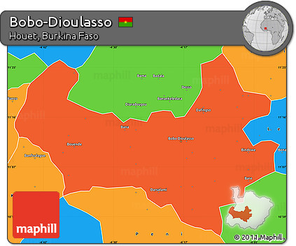 Free Political Simple Map of BoboDioulasso