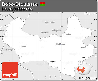 Free Silver Style Simple Map of BoboDioulasso