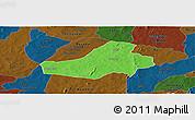 Political Panoramic Map of Hounde, darken