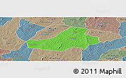 Political Panoramic Map of Hounde, semi-desaturated