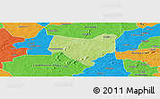 Physical Panoramic Map of Koumbia, political outside