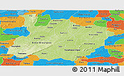 Physical Panoramic Map of Houet, political outside