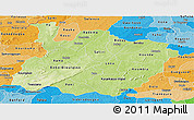 Physical Panoramic Map of Houet, political shades outside