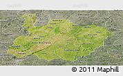 Satellite Panoramic Map of Houet, semi-desaturated
