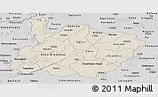 Shaded Relief Panoramic Map of Houet, desaturated