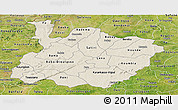 Shaded Relief Panoramic Map of Houet, satellite outside