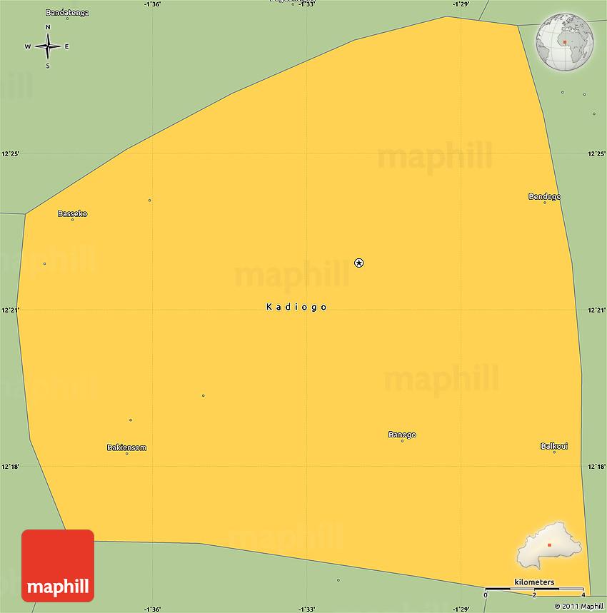 Savanna Style Simple Map of Kadiogo