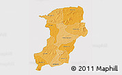 Political Shades 3D Map of Kenedougou, cropped outside