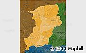 Political Shades 3D Map of Kenedougou, darken