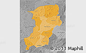 Political Shades 3D Map of Kenedougou, desaturated