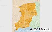 Political Shades 3D Map of Kenedougou, lighten