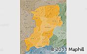 Political Shades 3D Map of Kenedougou, semi-desaturated