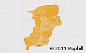 Political Shades 3D Map of Kenedougou, single color outside