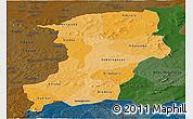 Political Shades Panoramic Map of Kenedougou, darken