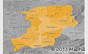 Political Shades Panoramic Map of Kenedougou, desaturated
