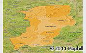 Political Shades Panoramic Map of Kenedougou, satellite outside