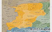 Political Shades Panoramic Map of Kenedougou, semi-desaturated